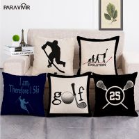Geometric Letters Cushion Cover Cotton Linen Hockey Football Throw Pillow Cover Decorative Pillows