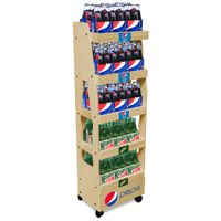 Floor standing solid wood soft drink retail display rack wooden beverage display stand with logo thumbnail image