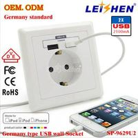 100% Fatory Direct and OEM Accepted wall socket Germany type with charger & leakage protection