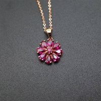Fashion Charms 18K Rose Gold Natural Ruby Pendants for Women Gemstone Jewelry