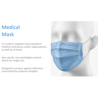 Medical mask, disposable, three-layer, non-woven fabric, CE thumbnail image