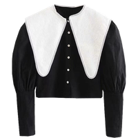 2021ss French Dolly-Neck Single-Breasted Shirt with Large Collar and Tight Waist thumbnail image