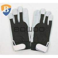 Hot sale pig skin leather working glove with elastic cuff
