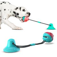 Pet Chew Ball Toy With Suction Cup Dog Food Dispensing Ball Dog Interactive Molar Toys Toothbrush