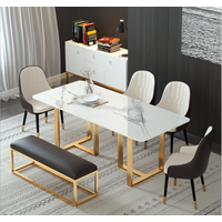 Manufacturer low price dining table set 6 chairs modern marble top dining tables