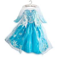 Hot Baby Girl Dress Elsa vestido blue long sleeve princess dress Kids part clothes Costumes Baby gir thumbnail image