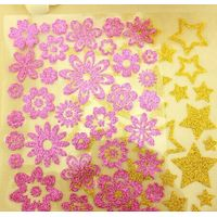 Fashionable non-toxic glittering sticker flower shape or customized design stickers