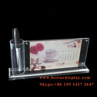 China supplier acrylic calendar display with pen holder