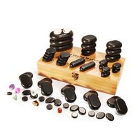 RISESUN Hot sale 60pcs Natural Hot massage stone set Hot stone Hot massage stone