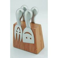 Rinvay 4pcs cheese knives with bamboo block set