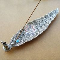 Metal Incense Holder Leaf Shaped with A Fortune Elephant,Indian Incense Holder 210*47*25mm