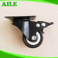 50mm Swivel Light Duty Black PU Small Caster Wheels With Brake thumbnail image