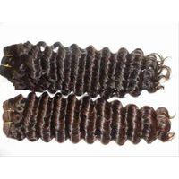 Deep wave human hair hair weaving machine made weft