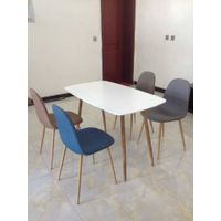 MDF Matt White PU Painting Dining Table