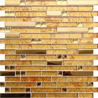 Gold Color Glass Mosaic Tile for Interior Wall Decoration thumbnail image