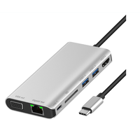 7 IN 1 Adapter type C Hub, USB3.1 Adapter To HDMI 2USB 3.0 SD Card USB C With RJ45 And VGA