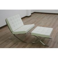 SHIMING FURINTURE MS-3101 white seated moroccan style Barcelona chair and ottoman thumbnail image