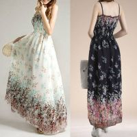 Women Summer Fashion Korean Style Flower Print Dress, Ladies Chiffon Bohemian Long Dress