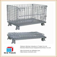 galvanized wire mesh basket container with 4 casters