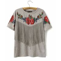 factory New collection printed tassels casual short sleeve lady blouse tee shirt Tshirt tassels whol thumbnail image