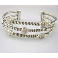 Sterling Silver Jewelry Three Row Diamond Bracelets (B-089) thumbnail image