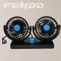 twin head 4inch mini car fan usb dual heads car cooling fan