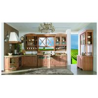 Solid wood kitchen cabinets with red oak wood doors