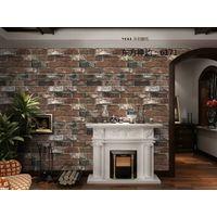 Popular Wood Brick Stone Design PVC Wallpaper for Interior Decoration