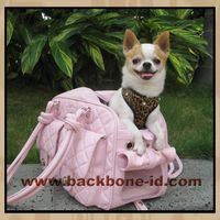 Wholesale Deluxe Pink Leather Pet Bag Carrier BA1008P-M