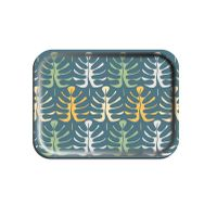 Rectangular Birch Veneer Tray-Leaves on Blue