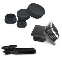 Round Square Black PP PE Plastic End Cap for Steel Tube Chair Table Stool Leg Tube Insert Pipe Plug