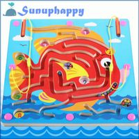 Factory supplier wholesale wooden fish shape magnetic lmaze toys for baby