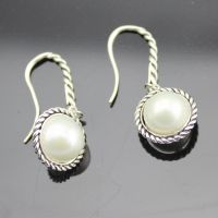 Sterling Silver Jewelry White Pearl Dangel Earrings (E-089)