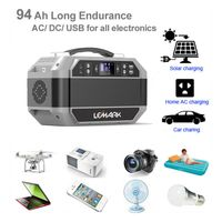 93600 mah 346 wh Out/Indoor USB DC AC sine wave output solar generator with LED light New thumbnail image