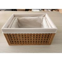Bamboo storage box with fabric lining 3set, bamboo storage basket, home organizer