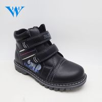 High top kids pu leather boots boys winter black ankle boots for sale