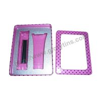 Cosmetics Kit Set Tin Box with clear window & tray