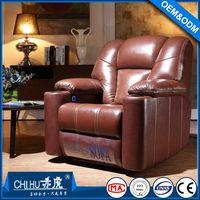 Factory supply high quality top grain leather VIP cinema sofa