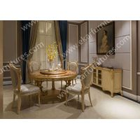 Modern round rotating wood dining table thumbnail image