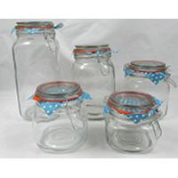 Glass Storage Jar/Glassware with Clip/Clamp/Locking Lid