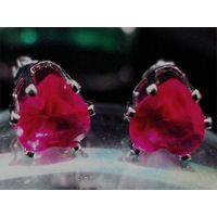 Heart Deep Red Garnet Stud Earrings 1035 thumbnail image