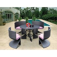 outdoor furniture sectional PE rattan dining cambered chairs and table set DC029
