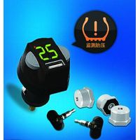Cigarette lighter plug display TPMS with four external sensors