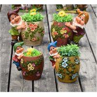 hand painted resin elf santa statues figure with resin plant pot flower desgin thumbnail image