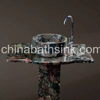 Colorful Granite Pedestal Sinks Vanity Top With Round Shape Basin
