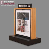 New Style Customized Two-side Counter Wood and Acrylic Earphone Display Rack with Logo