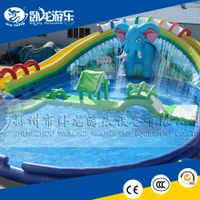 HI EN14960 0.5mmPVC giant inflatable water slide for sale