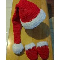 children Santa hat scarf glove Christmas advertising gift hat glove  acrylic winter set