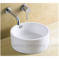 white Small Size Ceramic Counter top Bathroom Wash Basin
