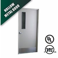 FM WH steel fire rated door with panic bar vision panel